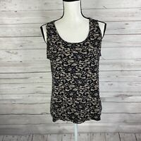 J Jill Wearever Womens Tank Top Size Medium Petite Black Tan Lace Print