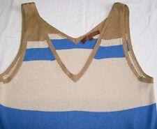 Next Colour Block Sparkle Vest gold navy blue rib knit top Size 18 vgc