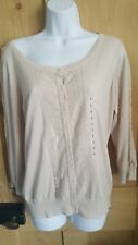 H & M Ladies Nude round neck cardigan with lace. 3/4 sleeve. Size L. BNWT.