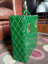 "Vintage 1970s Stunning Green Faux Leather Vinyl 12"" Record Storage Case.Holds 25"
