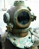Antique Boston Diving Scuba SCA Divers US Navy Mark V Marine Anchor Helmet 18""