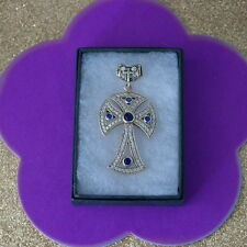 925 Silver And Bronze Cross With Sapphire And Topaz  13.7 Gr. 6 x 3.2 Cm. Wide