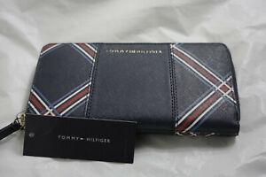 TOMMY HILFIGER Rectangular ZIP AROUND Clutch Style BLUE RED  Wallet BNWT