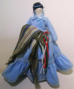 "13"" Vintage Handmade Cloth Soft Stuffed Native American Indian Woman Doll"