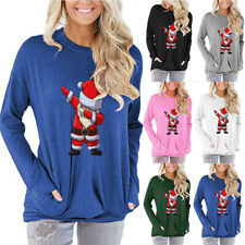 Women Lady Loose Casual T-shirt Plus Size Santa Claus Print Pullover Tops Blouse