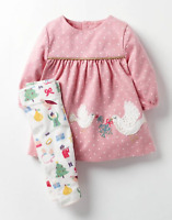 Baby boden girls dress leggings set outfit newborn 0 3 6 months Christmas pink