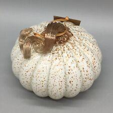 "Blown Art Glass Pumpkin White Gold Flecks Sparkle Thanksgiving Fall Decor 5"" NEW"