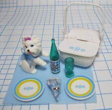 Mattel Barbie PRETTY TREASURES PICNIC Basket KITCHEN SET-B Dishes Napkin PET DOG