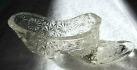 Vintage Fenton Clear Glass Daisy & Button Bows Glass Shoe Boot