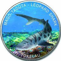 2018 Tokelau Leopard Shark 1 Ounce Pure Silver Colorized Fish Coin Series!!