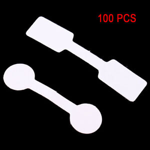 100 x Jewellery Labels Price Tags Self Adhesive Dumbell Round Or Square White
