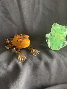 Alum Bay Glass FROG🐸 Paper weight green swirl Isle of Wight and other