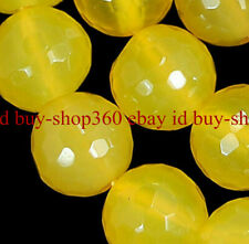Natural 6/8/10/12mm Faceted Yellow Topaz Round Gemstone Loose Beads 15'' AAA+