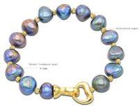 """black 8-9 mm Natural baroque cultured freshwater pearl Bracelets 7.5"""""""