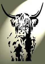 Shabby Chic Highland Cow cattle Stencil Vintage A4 297x210mm Wall design 2 full