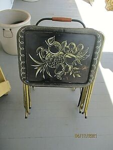 SET OF 3 Vintage CAL-DAK Metal TV Trays Gold with Fruit Design - WITH STAND