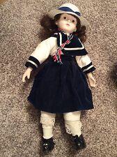 "Vintage 18"" Porcelain Doll Blue / White Dress Brunette 1980's"