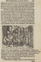 arme MÖNCHE Bärte brennen Original Kupferstich auf Textblatt  um 1765 Geschichte