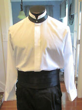 MENS VINTAGE DEMETRIOS FORMAL NEHRU TUXEDO SHIRT BLACK BAND COLLAR 18 X 34 (XL4)