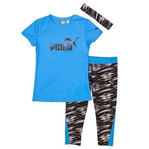 Puma Girls' Capri Set with Headband, Small (7) , Blue/Black