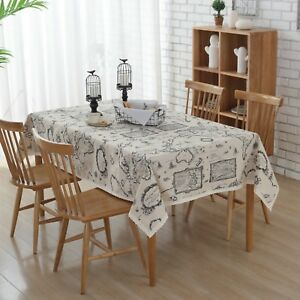 """Enova Home 54""""x 80"""" Simple Map Pattern Rectangle Cotton and Linen Tablecloth"""
