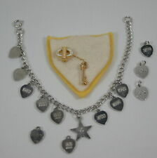 Vintage Beta Sigma Phi Gold Sorority seed pearl pin and Charm Bracelet 1960's