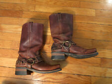 Frye Womens 7 Made in USA Belted Harness Boots Brown Leather Tall