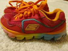 Skechers Go Run Girls 11 Athletic Tennis Shoes Neon Rainbow Pink Orange Guc