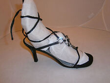 STARLET BY STAR JONES WOMENS SHOES 8 BLACK FABRIC JEWELS ANKLE WRAP AROUND SEXY