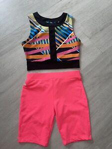 River Island Girls Rainbow Crop & Tu Pink Cycling Shorts 5-6 Years