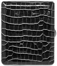 Black Crocodile Print Leather Compact (Half Pack - 10 100s) Metallic Cigarett...