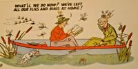 Vintage Fly Fishing Postcard Cartoon Fisherman on boat Smiths Scenic Views G 78
