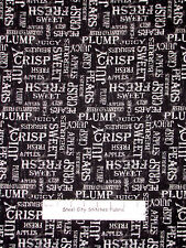 Apple Pear Words Black  Cotton Fabric Wilmington From The Market  #82421 Yard
