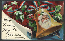 Embossed Santa Claus Bell Christmas Postcard Copyright 1910 Arthur Horwitz