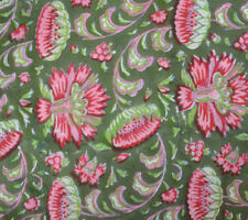 5 Yard Cotton Swing Running Hand Block Pink Flower Lining Print Fabric Jaipur