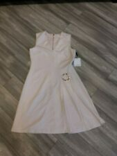 Calvin Klein Beige Gold Womans Dress V Neck Size 4 CD8C187V Sheath