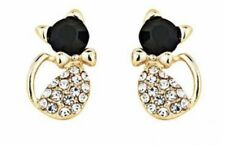 Earring Boho Festival Party Boutique Uk Gold Cat Crystal Bling Luxury Fashion