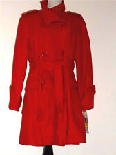 NWT Nygard Red Trench Coat Style Wool Blend w/Belt Coat Sz 12P Adorable!