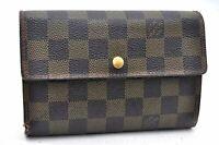 Auth Louis Vuitton Damier Porte Tresor Etui Papier Wallet N61202 LV A1733