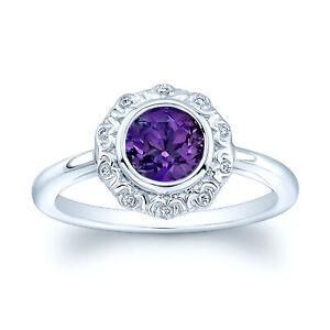 14k White Gold Amethyst Antique Finish Diamond Ring Bezel Set Round Cut Natural