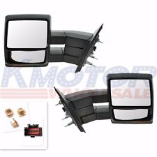 Chrome Towing Power Heated Pair Tow Mirrors Signal Puddle Ford F150 Pickup 07-14