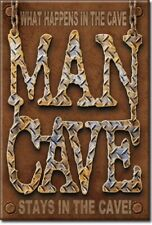 MAN CAVE WHAT HAPPENS IN THE CAVE STAYS IN CAVE Retro Vintage Tin Sign Magnet