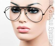 Aviator Nerd Glasses Hipster Vintage Style Cable Hook Temples Black Clear S11