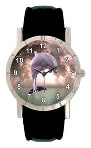 Jumping Dolphin Mens Womens Genuine Leather Water Resistant Wrist Watch SA1813