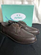 Apex Mens Lexington Brown Ox Moc Toe Leather Dress Shoes Tie Front Size 13 Wide