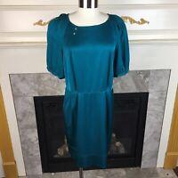ALI RO Anthropologie 12 Teal Blue Bell Sleeve Knee Length Silk Back Zip Dress