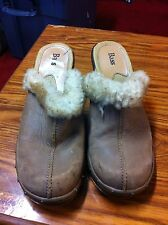 Bass Beale Clogs Slip On Slides Womens Size 7.5 M Brown Leather Upper, Wool Line