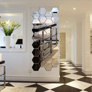 Removable Wall Stickers 3D Mirror Hexagon Mural Removable Living Room Home Decor