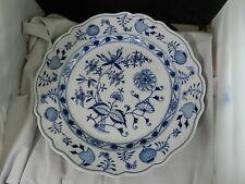 "Meissen Blue Onion Chop Round Platter Chope Plate Crossed Swords 13 7/8"""