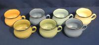 Mackenzie Childs 7 Coffee Tea Mugs Cups Enamel with Gold Rim Victoria + Richard